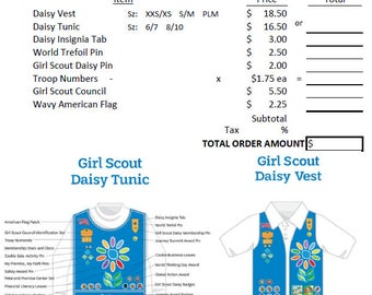 Daisy Girl Scouts Downloadable Troop Uniform Order Form