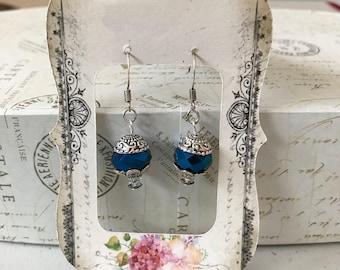 Royal Blue faceted Crystal rondelle earrings.