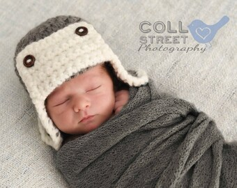 Baby Lumberjack Hat - Logger Hat - Newborn to 3 Months - ANY Color - Outdoorsman Hat - Crochet Photo Prop