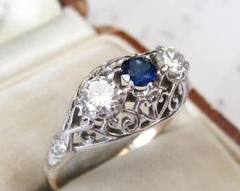 c.1910 Edwardian Natural Diamond & Synthetic Sapphire Three Stone Filigree Gold Ring