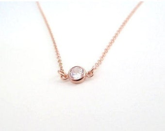 Diamond necklace, Rose gold CZ Necklace, Dainty cubic Zirconia delicate necklace, April birthstone necklace