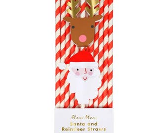 Paper Straws | Party Straws | Christmas Straws | Christmas Decorations | Santa & Reindeer Straws | Red Stripe Straws | Red Straws | Santa