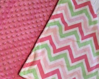 Baby Girl Minky Blanket - Baby Blanket - Newborn Gift - Pink Blanket - Minky Blanket