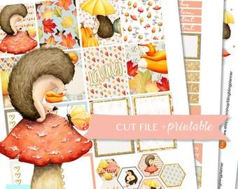 HEDGEHOG PLANNER STICKERS, fall Printable weekly kit, autumn stickers -printable, cute fall planner stickers, november sticker kit, bling