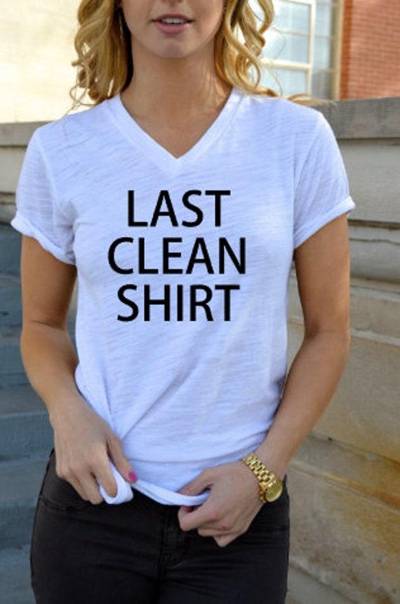 Last Clean Shirt - Graphic Tee - Short Sleeve V-Neck Tee Shirt: White Slub