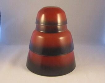 Vintage Anchor Hocking Fire King Nesting Bowls Red Brick Dark Brown Hombre