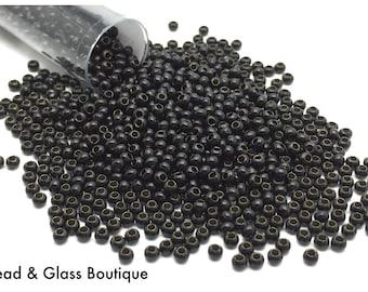Heavy Metal Seed Bead, 11/0, Black, approx 50 grams