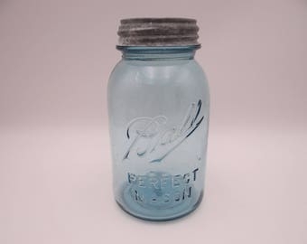 1910s 1Q Ball Ideal Perfect Mason Jar with Original Zinc Lid Wedding Decor