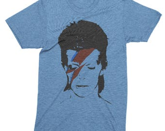 """Vintage Style """"David Bowie"""" David Bowie Made in Japan Design Deluxe Soul T-shirt Blue"""