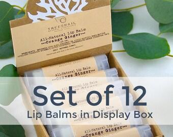 Bulk Lip Balms / Set of 12 Organic Lip Balms in Display Box / Shea Butter Lip Balm Set / Handmade Lip Balm Gift Set / Natural Lip Balm Set