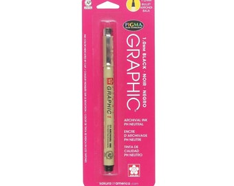 Sakura Pigma Micron #1 Ink Pen, 1-mm Chisel Tip, Black;