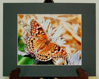 Butterfly Art, Tawny Emperor Butterfly Matted Altered Photo, Photographic Art Print, Nature Art, Butterfly Home Decor, Butterfly Wall Art