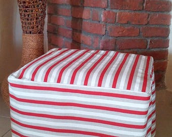READY TO SHIP - Ottoman Slipcover - Striped Ottoman Cover - Slipcover  - Rustic Decor - Rustic Home Decor - Foot Stool Cover - Pouf Cover