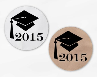 Graduation Cap Favor Stickers in Black - Custom White Or Kraft Round Labels for Bag Seals, Envelopes, Mason Jars (2012)
