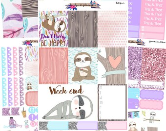 VERTICAL KIT, Don't Hurry Be Happy, sloth sticker kit, sloth planner stickers, weekly planner kit