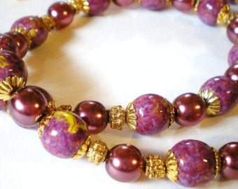 Purple and Yellow Necklace, Hand Painted Wood Beads Necklace with Plum Czech Glass Druk Accent Beads, Purple Jewelry