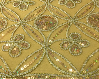 Gold Seamless Diamond with Sequin Embroidery Scalloped Edge on 54''