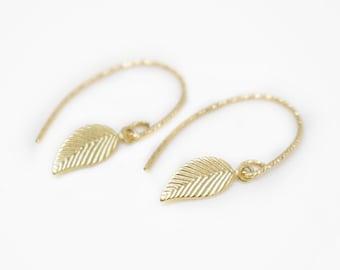 Earrings filigree, leaf earrings, gold earrings, 14k gold filled, earrings bridal, earrings wedding, pendant earrings, filigree earrings
