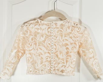 Long Sleeve Ivory Lace Top with Buttons
