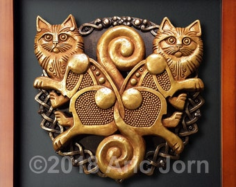 Freyja's Cats: Bygul & Trjegul from Norse/Viking myth. COld cast brass and bronze. Limited edition of 150 Freya