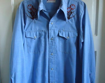 Vintage 70s Hand Embroidered Chambray Shirt sz S/M