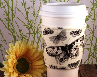 Fabric Coffee Cozy / Butterflies Coffee Cozy / Butterfly Coffee Cozy / Coffee Cozy / Tea Cozy