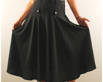Vintage midi skirt high waist black full circle skirt 1980 80s long modest skirt medium office skirt