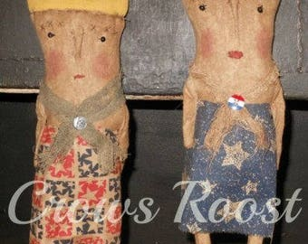 Americana  epattern-NOT DoLL Liberty Lady doll Crows Roost Prims 184e Primitive epattern