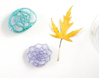 Mint Lilac Crochet Covered Stone, Lace Stone, Paperweight, Home Decor, Beach Wedding, Set of 2