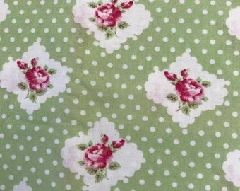 Grand Revival by Tanya Whelan Darla Rosie Dot Green Fat Quarter, Quilting Sewing Fabric Retro Fabric