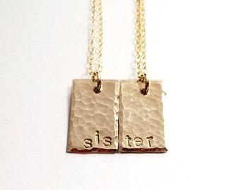 Personalized Sister Jewelry, Sisters Gift, Sister Necklace Set, Personalized Jewelry Set, Custom Hand Stamped Jewelry Gold Layering Necklace