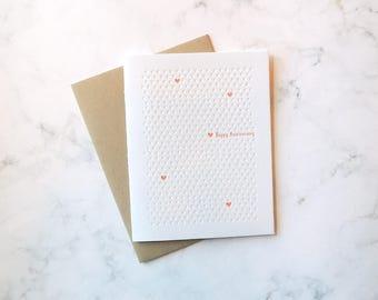 Anniversary letterpress card, neon pattern XOXO hearts pink love marriage wedding