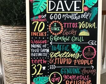 Hand drawn birthday chalkboard | baby or adult birthday board | smash cake sign | party decor