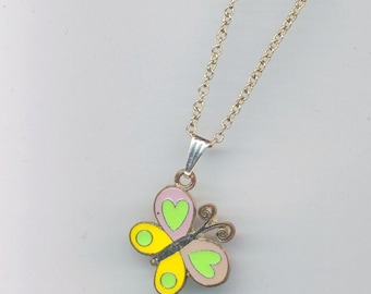 Yellow and Green Butterfly Metal Pendant . Enamel/ Enameled Butterfly Charm . Green Yellow Butterfly- Classy Spring by enchantedbeas on Etsy