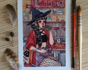 A5 print Fastfood witch watercolor illustration