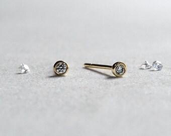 14k Gold Circle Diamond Stud Earrings - 2mm Brilliant Diamond - Bezel Set - Gift for Her - Simple Minimalist Everyday Jewelry LITTIONARY