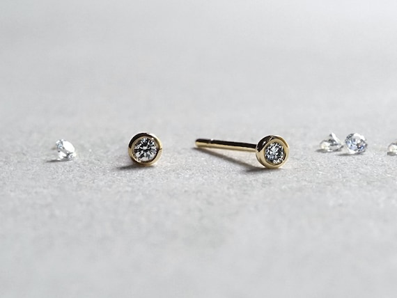 stud earrings diamond diamonds post rose back cut pair solitaire gold sold pin as