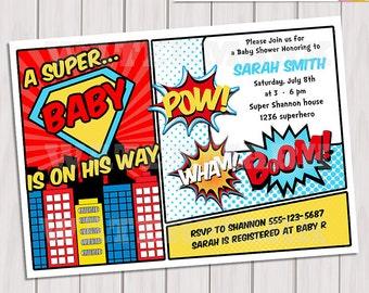 Superhero Baby Shower Invitation Printable - Invite Card - Personalized invitation - Super hero Boy Baby Shower