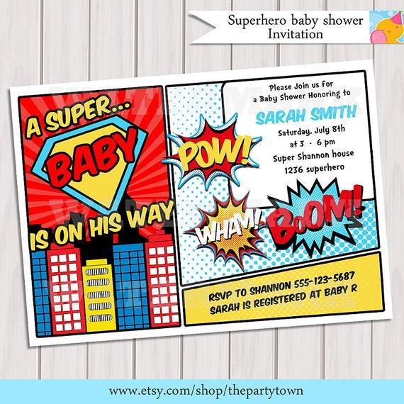 Superhero Baby Shower Invitation Printable Invite Card