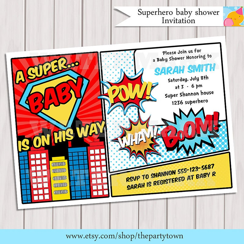 Superhero Baby Shower Invitation Printable Invite Card