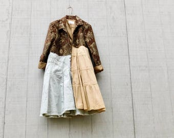 Duster Jacket,Brown Coat, Art Jacket, Upcycled Clothing Women, Statement Piece, Unique Clothing, Wearable Art, Floral, CreoleSha