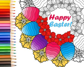 printable coloring,Easter activity, Easter egg,coloring pages for adults,printable coloring pages pdf,coloring art therapy,instant download