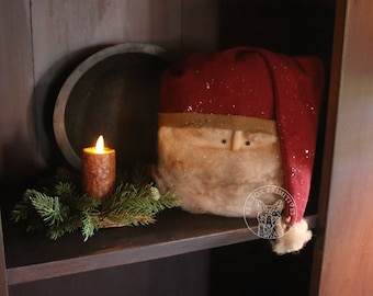 Primitive Sitting Santa Head - Nicholas
