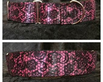 Pink Lace Dog Collar / Martingale