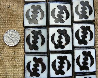 Larger 24x26mm Adinkra Gye Nyame Batik Ox Bone Beads Framed Ebony on White