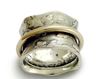 Wide two tones ring, Floral Spinner ring, Vintage band, botanical band, gold spinner, Wedding Band, silver meditation ring, everyday ring