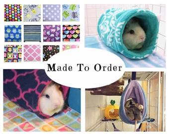 Guinea pig fleece |  rat hammock | guinea pig tunnel | chinchilla tunnel | hedgehog tunnel | rat tunnel | sugar glider | tube  MADE TO ORDER