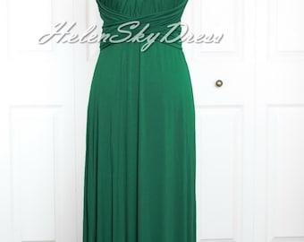 Wrap Convertible Infinity Dress Hunter green Evening Dresses Straight Hem long Hunter green Bridesmaid Dress