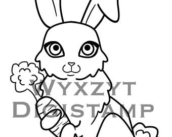 Cute Bunny Digistamp coloring page instant download
