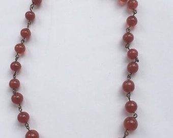 Vintage Cranberry Red Glass Graduated Choker Necklace/Translucent Glass Beads/Barrel Clasp